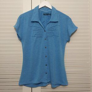 Prana Blue Button Front Short Sleeve Collared Tee